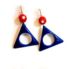 Trendy Hipster, Modern, Cool, Bold 80's style Triangle, Red Blue One... (78 ILS) ❤ liked on Polyvore featuring jewelry, earrings, plastic stud earrings, vintage dangle earrings, blue statement earrings, red statement earrings and red dangle earrings