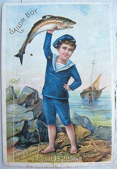Victorian Trade Card Sailor Boy, Scott & Browne Scott's Emulsion of Cod Liver Oil, ca Vintage Ephemera, Vintage Cards, Vintage Paper, Vintage Postcards, Vintage Pictures, Vintage Images, Vintage Sailor, Vintage Nautical, Vintage Ads