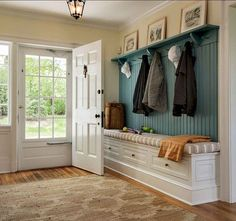 MUD ROOM – Cottage farmhouse entry new york, Crisp Architects Sweet Home, Cozy Living Rooms, Living Area, Entryway Decor, Entryway Ideas, Entryway Storage, Bench Storage, Shoe Storage, Entryway Organization