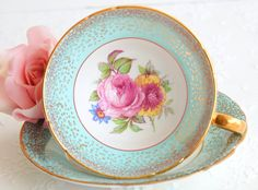 Antique 1950s  Stanley Tea Cup and Saucer. by EcoIdeology on Etsy
