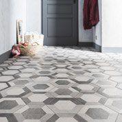 Carrelage sol et mur gris blanc effet béton Time l.18.2 x L.21 cm