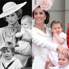 1985-2016 ❤️ Princess Diana with young Prince William and Harry in 1985; Duchess Catherine with Prince George (age 3) and Princess Charlotte (age 1), June 2016