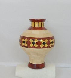 Segmented Wood Vase Handmade by Quiltwear on Etsy, $175.00 Segmented Turning, Bowl Turning, Flower Containers, Wood Vase, Turned Wood, Lathe, Tool Box, Fashion Lookbook, Things To Buy
