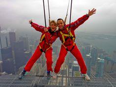 Frank Ferragine and Jennifer Valentyne from Breakfast Television on Edgewalk on opening day of the 2012 season