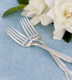 Vintage Bride & Groom Stamped Forks – Set of 2 by Woodenhive by Scoutmob Shoppe. A lovely little touch for a crafty (and classy) wedding.