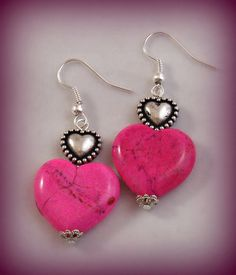 Pink Magnesite Heart Earrings by Annie O by RoseCottageVintage, $9.99