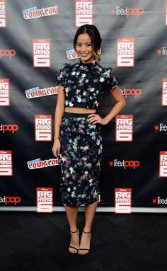 Jamie Chung in a Tanya Taylor crop top and midi skirt