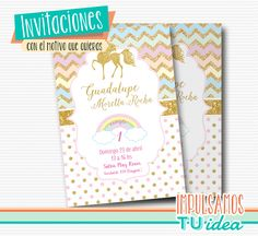 Invitación unicornio, tarjeta unicornio imprimible