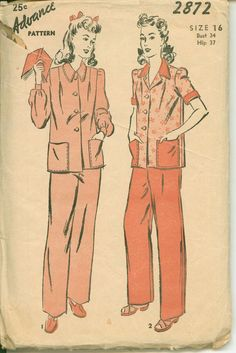 Sewing Pattern for 1940s Misses Pajama Set - ADVANCE 2872