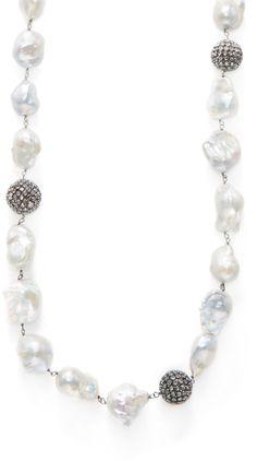 Arthur Marder Fine Jewelry Women's Long Baroque Freshwater Pearl & White Sapphire Necklace