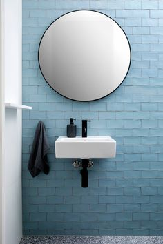 Bronte House by Kate Bell Design - interior design ideas Black Bathroom Taps, Bathroom Wall, Blue Bathroom Tiles, Bathroom Ideas, Bathroom Fixtures, Colourful Bathroom Tiles, Taps Bath, Blue Bathrooms, Minimal Bathroom