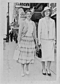 "Two women ""going to lunch at The Barn on Granville St. about 1956"". vintage 1950s Vancouver Canada..........quite different today; you probably wouldn't see anybody dressed up; they'd be wearing short shorts or jeans and tank tops"