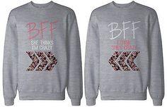 Cute Matching Sweatshirts for Best Friends - BFF Floral Print Grey Sweatshirts
