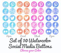 Social Media Buttons Icons -- Watercolor -- Facebook, Twitter, Bloglovin, Etsy, Pinterest, Instagram, Email, etc. -- Circle