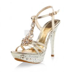 Patent Leather Stiletto Party/Evening Sandals With Rhinestones - USD $ 34.99