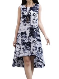 Vintage Women Floral Printed Sleeveless Linen High Low Dress