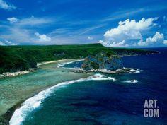 Aerial of Bird Island, Saipan Photographic Print by Francie Manning at Art.com