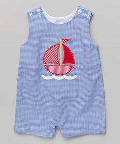 Look at this Royal Blue Gingham Sailboat John Johns - Infant