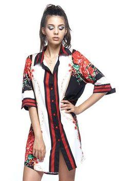 94403229c2fe Sleek Satin Printed Button Down Shirt Mini Dress Jumpsuit Dressy