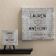 """This """"Graffiti Love"""" Personalized Canvas Art is so cool and unique! the Bride & Groom could use this as a guest book at the wedding and have everyone sign it with a message! ... it  would also make a great wedding gift or Christmas gift for newlyweds to use to decorate a new home! #Wedding #Guestbook #Christmas"""