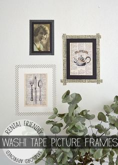 Washi Tape Picture Frames -- Going to try for Brighton Room! Diy Washi Tape Picture Frame, Washi Tape Frame, Washi Tape Diy, Picture Frames, Masking Tape, Frames On Wall, Wall Collage, Tapas, Framed Wallpaper