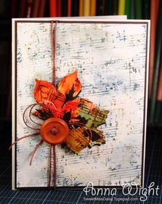 Maybe a hymn page for the background? Card Making Inspiration, Making Ideas, Fall Cards, Christmas Cards, Scrapbook Paper Crafts, Scrapbooking, Artist Card, Thanksgiving Cards, Sweet Notes