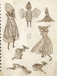 art, illustration, // Bird and Beast by `sambees on deviantART Character Concept, Character Art, Concept Art, Drawing Cartoon Characters, Cartoon Drawings, Arte Sketchbook, Animation, Bird Drawings, Character Design Inspiration