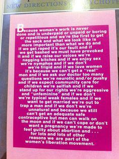 Feminism is relevant.