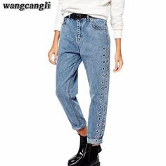 003cc135000 2017 spring jeans feminina fashion pantalon jeans pour femme cotton  Straight pants Loose ripped boyfriend jeans for women. Jeans DenimMom ...