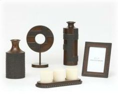 Oriel Accessory Set (5/CN). 5-piece set table top accessory. Antique copper and wood finished.