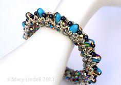 Right Angle Weave Gumdrop Beaded Bangle in Turquoise
