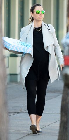 oversized wrap coat The Best Celebrity Maternity Street Style Looks - Jessica Biel, February 2015 from InStyle.com