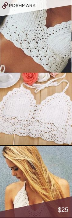 Sexy Europe Crochet Lace Bralette Knitted Bra Boho Sexy Europe Fashion Women Crochet Lace Bralette Knitted Bra Boho Beach Bikini Crop Top Halter Cami Tank Top, Color: White Other