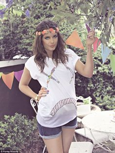 The hippie shake: The Made In Chelsea star looks superb modelling the new range of funky and quirky clothing