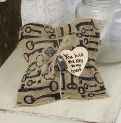 Ring Bearer Pillow Rustic Wedding Decor Key To My Heart Burlap (item PI10558)