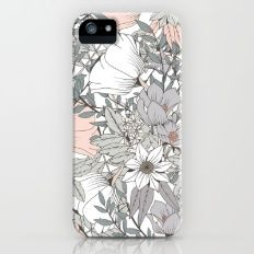 Seamless pattern design with hand drawn flowers and floral elements Slim Case iPhone (5, 5s)
