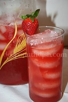 Southern Strawberry Sweet Iced Tea  From the Kitchen of Deep South Dish    One recipe of my Southern Sweet Iced Tea, using     5 tea bags, steeped in 4 cups of hot water for 5 minutes)  1 cup of sugar or sugar substitute  2 cups of fresh whole strawberries, cleaned  1/4 cup fresh lemon juice (about 1-1/2 lemons)  Ice cubes  Extra strawberries, for garnish