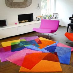 Sonya Winner modern colourful rug After Matisse shown in a contemporary living room with minimalist white furniture, black classic piano, pink chair and Anke Birnie sculpture Best Living Room Design, Living Room Modern, Living Room Designs, Design Bedroom, Bedroom Carpet, Living Room Carpet, Art Deco Furniture, Living Room Furniture, Furniture Ideas