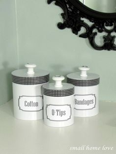 Although this project was a bit of a nightmare before I finally figured it out, I love how my new vintage bathrooms canisters look. And for under $10 I can't complain.