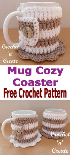 Crochet mug cozy coaster, keep your hot drinks warm and save your tables and desks from scratches, FREE crochet pattern. #crochetncreate #crochetmugcozy #crochetcoaster