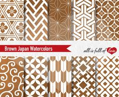 Brown Watercolor Digital Paper by All is full of Love on @creativemarket