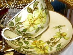 HAVILAND LIMOGES YELLOW FLORAL HAND PAINTED Tea Cup and Saucer Set-A/F