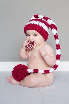 Santa Hat  Elf Hat  6 - 12 month Size Photography Prop