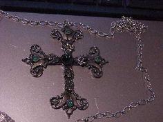 Old Rhodium Plated Cross Green Glass cabochon by NICOLEMOriginals, $50.00