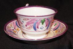 Antique English Pink Lusterware Cup and Saucer Circa 1850 | eBay Similar.