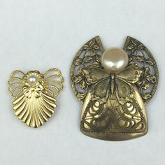 Set of Artist Signed jane Angel Brooch Gold-tone Faux Pearl Accent 1996, 1997 AOL Jane Davis Butterflies and Ribbons by REMIjewels on Etsy