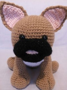 Crochet Brown French Bulldog French by CarrotTopsCharacters