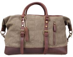 Blueblue Sky Oversized Leather Canvas Casual Travel Tote Luggage Duffel Handbag#831 (Army green)