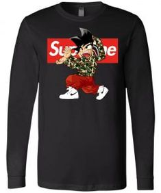 Goku x Supreme Bape Long Sleeve - Goku Fans Shop Bape Outfits, Supreme Bape, Tee Design, Goku, Size Chart, Fans, Trending Outfits, Hoodies, Long Sleeve