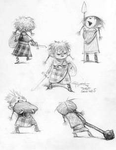 Brave Concept art of the triplets by Carter Goodrich - little boy sketches